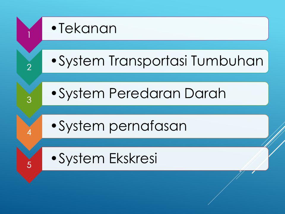 1 Tekanan 2 System Transportasi Tumbuhan 3 System Peredaran Darah 4 System pernafasan 5 System Ekskresi