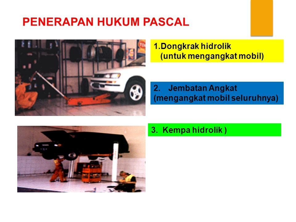 PENERAPAN HUKUM PASCAL 1.Dongkrak hidrolik (untuk mengangkat mobil) 2.Jembatan Angkat (mengangkat mobil seluruhnya) 3.