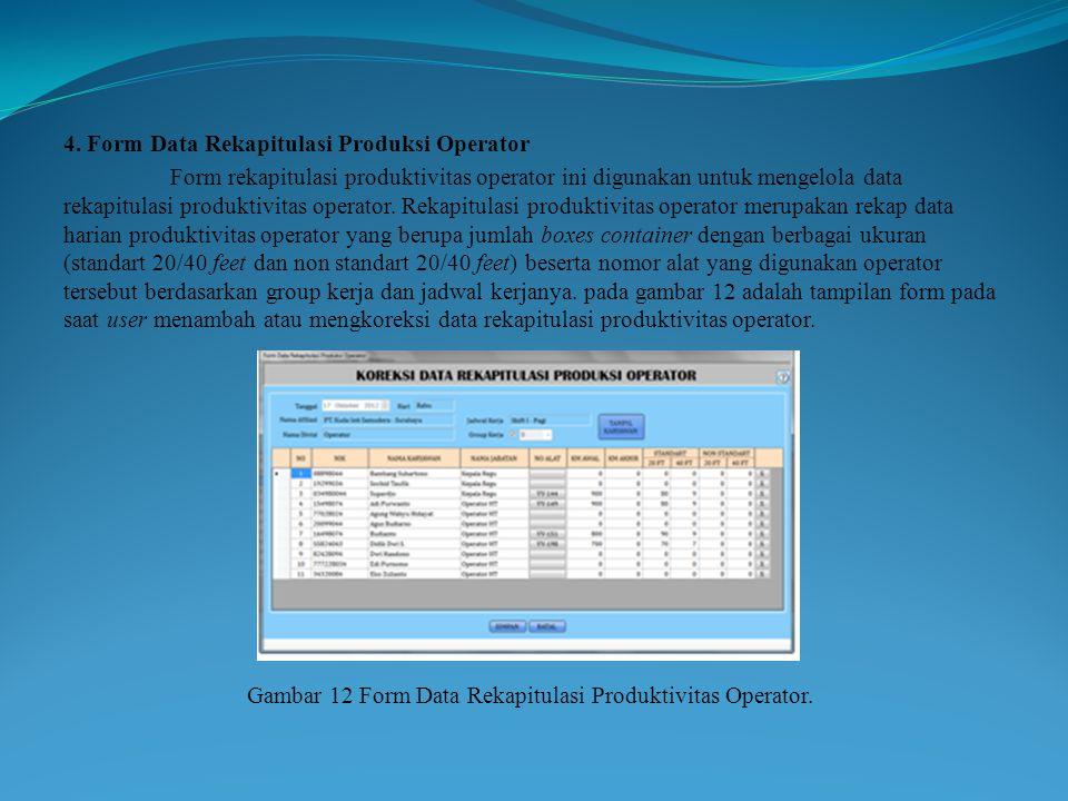 4. Form Data Rekapitulasi Produksi Operator Form rekapitulasi produktivitas operator ini digunakan untuk mengelola data rekapitulasi produktivitas ope