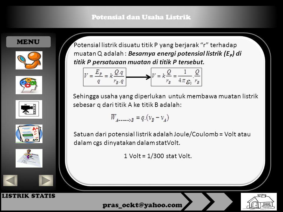 Potensial dan Usaha Listrik pras_ockt@yahoo.com LISTRIK STATIS Potensial listrik disuatu titik P yang berjarak r terhadap muatan Q adalah : Besarnya energi potensial listrik (E P ) di titik P persatuaan muatan di titik P tersebut.