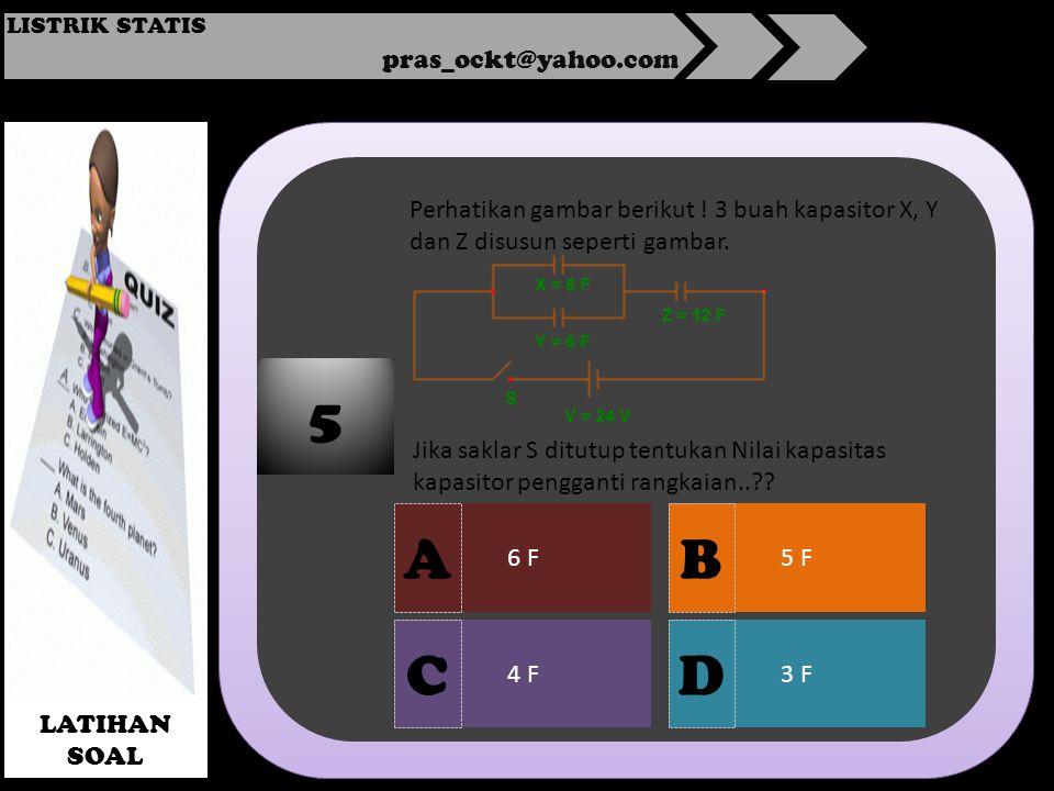 pras_ockt@yahoo.com LISTRIK STATIS LATIHAN SOAL 6 F 4 F3 F 5 F 5 A DC B Perhatikan gambar berikut .