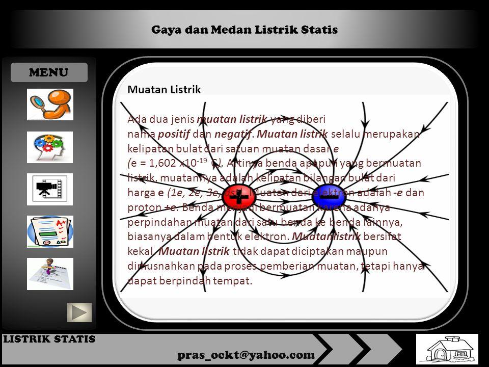 Gaya dan Medan Listrik Statis pras_ockt@yahoo.com LISTRIK STATIS Muatan Listrik Ada dua jenis muatan listrik yang diberi nama positif dan negatif.