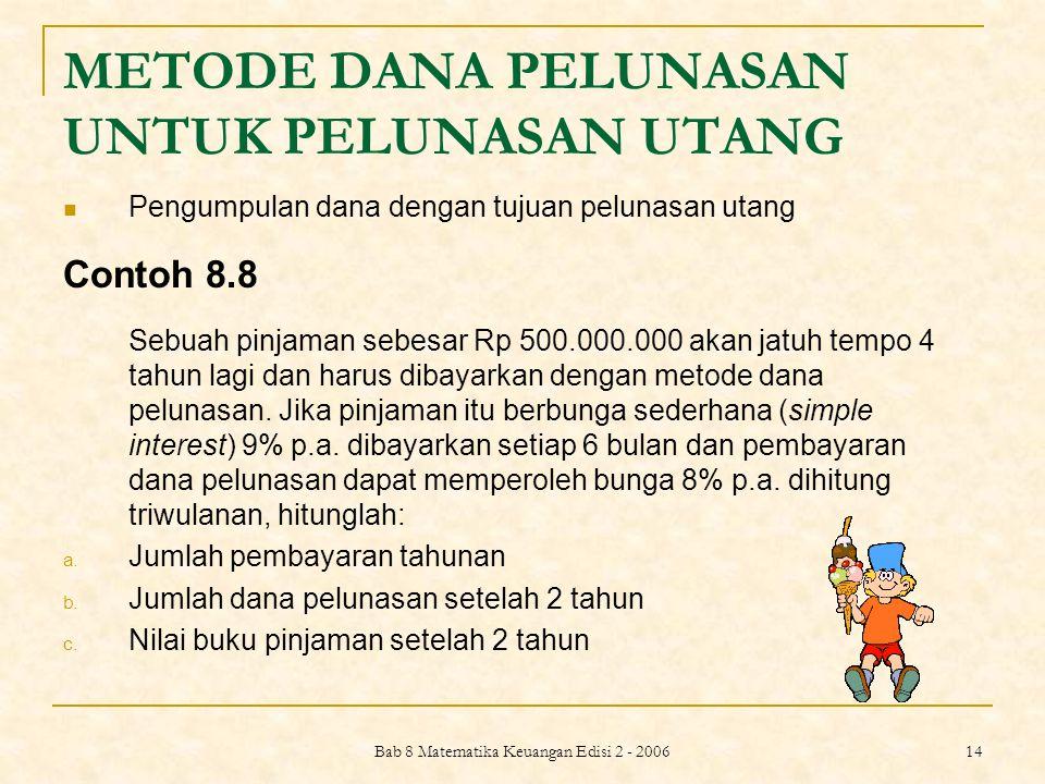 Bab 8 Matematika Keuangan Edisi 2 - 2006 15 Jawab: a. Anuitas untuk dana pelunasan