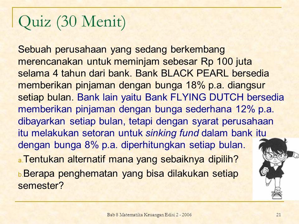 Bab 8 Matematika Keuangan Edisi 2 - 2006 21 Quiz (30 Menit) Sebuah perusahaan yang sedang berkembang merencanakan untuk meminjam sebesar Rp 100 juta s