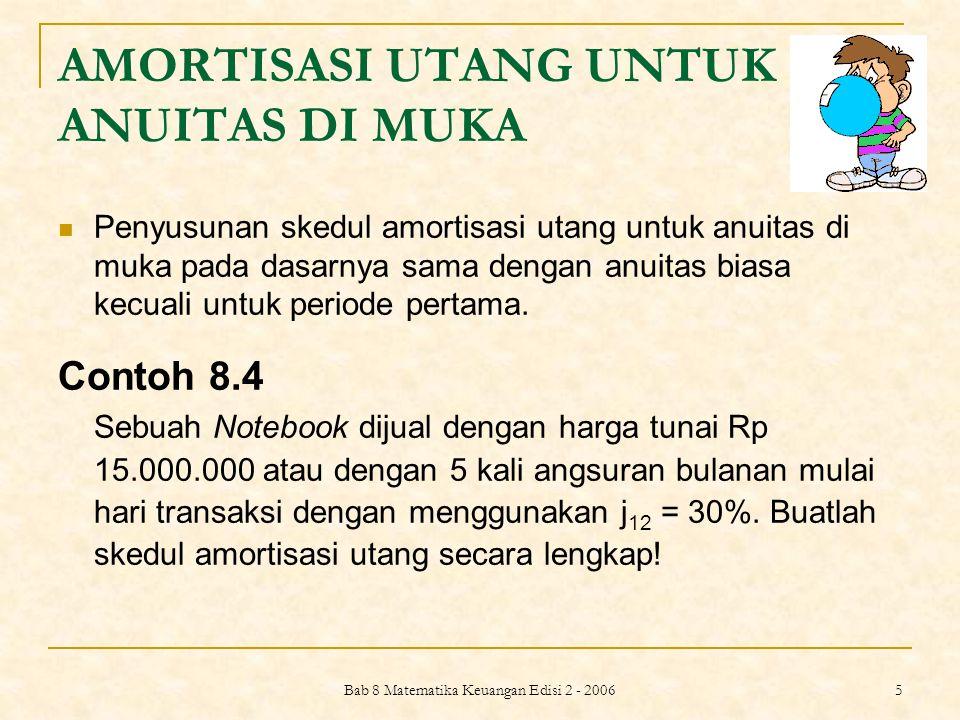 Bab 8 Matematika Keuangan Edisi 2 - 2006 6 Jawab: PV= Rp 15.000.000 n= 5 i= 2,5% = 0,025