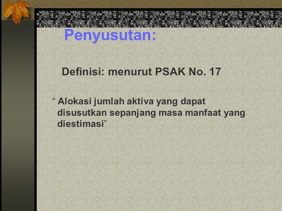 """Penyusutan: Definisi: menurut PSAK No. 17 """" Alokasi jumlah aktiva yang dapat disusutkan sepanjang masa manfaat yang diestimasi"""""""