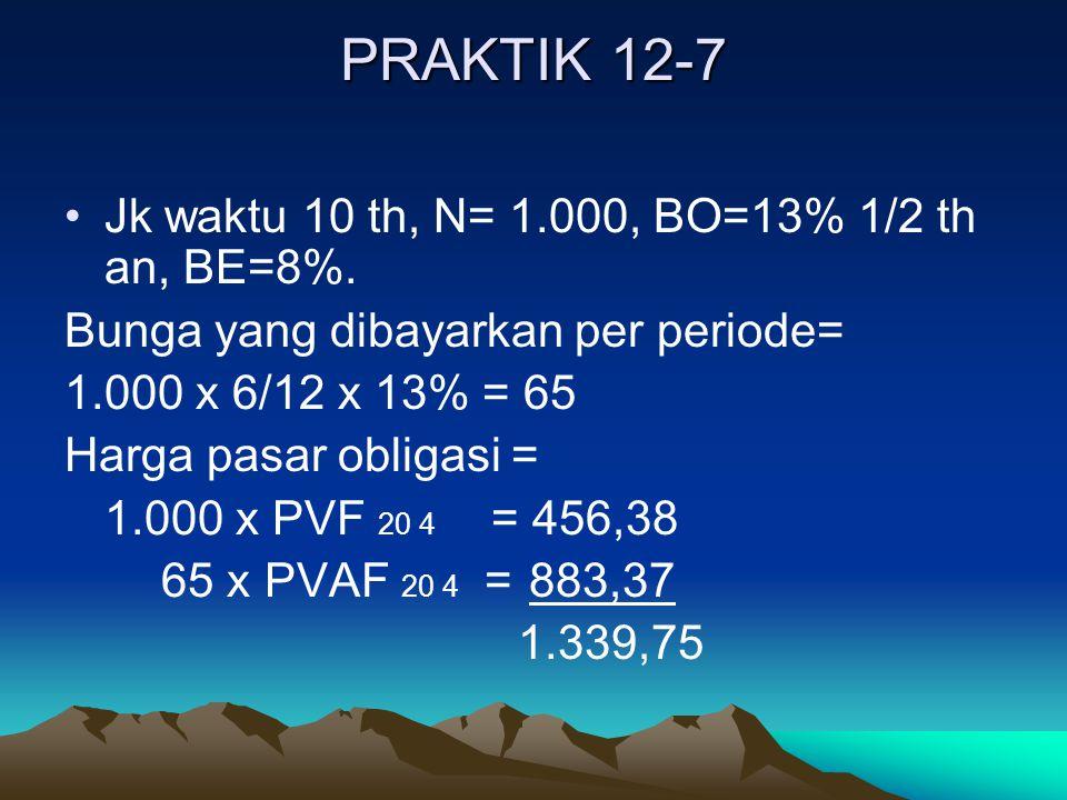 PRAKTIK 12-7 Jk waktu 10 th, N= 1.000, BO=13% 1/2 th an, BE=8%. Bunga yang dibayarkan per periode= 1.000 x 6/12 x 13% = 65 Harga pasar obligasi = 1.00