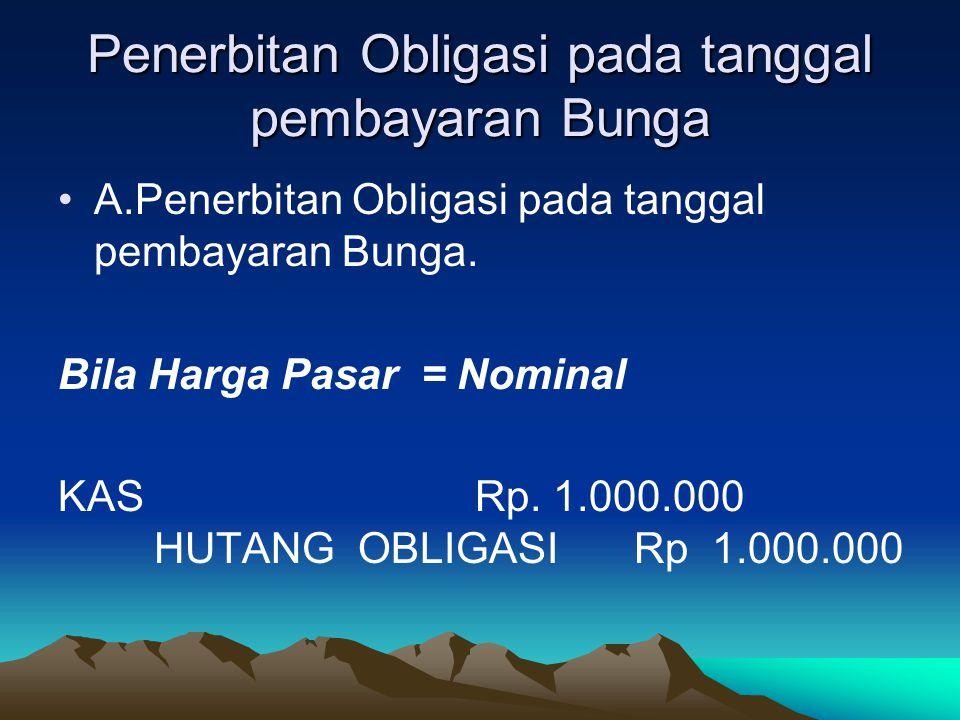 Penerbitan Obligasi pada tanggal pembayaran Bunga A.Penerbitan Obligasi pada tanggal pembayaran Bunga. Bila Harga Pasar = Nominal KAS Rp. 1.000.000 HU