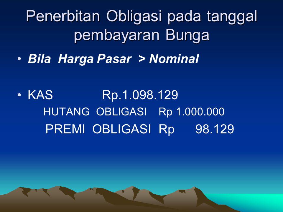 Penerbitan Obligasi pada tanggal pembayaran Bunga Bila Harga Pasar > Nominal KASRp.1.098.129 HUTANG OBLIGASIRp 1.000.000 PREMI OBLIGASIRp 98.129