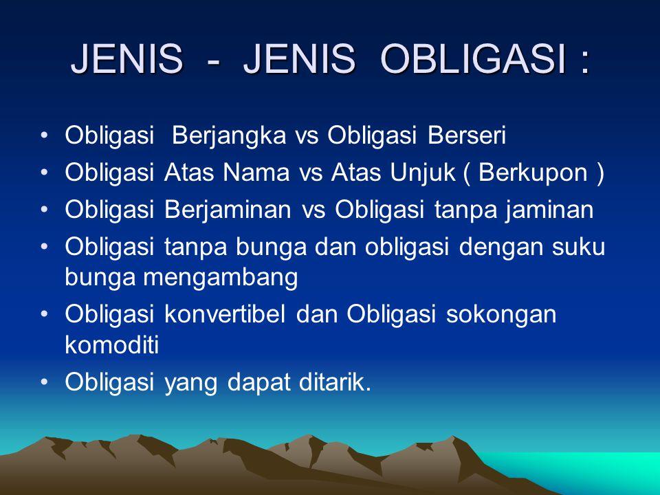 JENIS - JENIS OBLIGASI : Obligasi Berjangka vs Obligasi Berseri Obligasi Atas Nama vs Atas Unjuk ( Berkupon ) Obligasi Berjaminan vs Obligasi tanpa ja