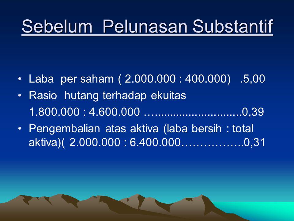 Sebelum Pelunasan Substantif Laba per saham ( 2.000.000 : 400.000).5,00 Rasio hutang terhadap ekuitas 1.800.000 : 4.600.000 …............................0,39 Pengembalian atas aktiva (laba bersih : total aktiva)( 2.000.000 : 6.400.000……………..0,31