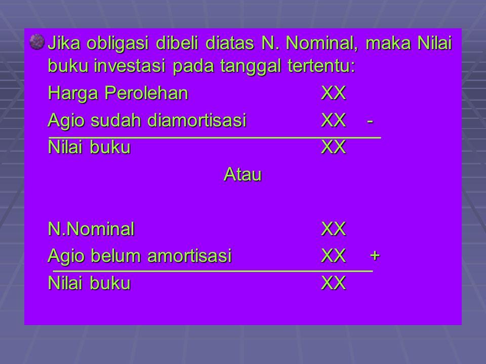 Jika obligasi dibeli diatas N. Nominal, maka Nilai buku investasi pada tanggal tertentu: Harga PerolehanXX Agio sudah diamortisasiXX - Nilai bukuXX At