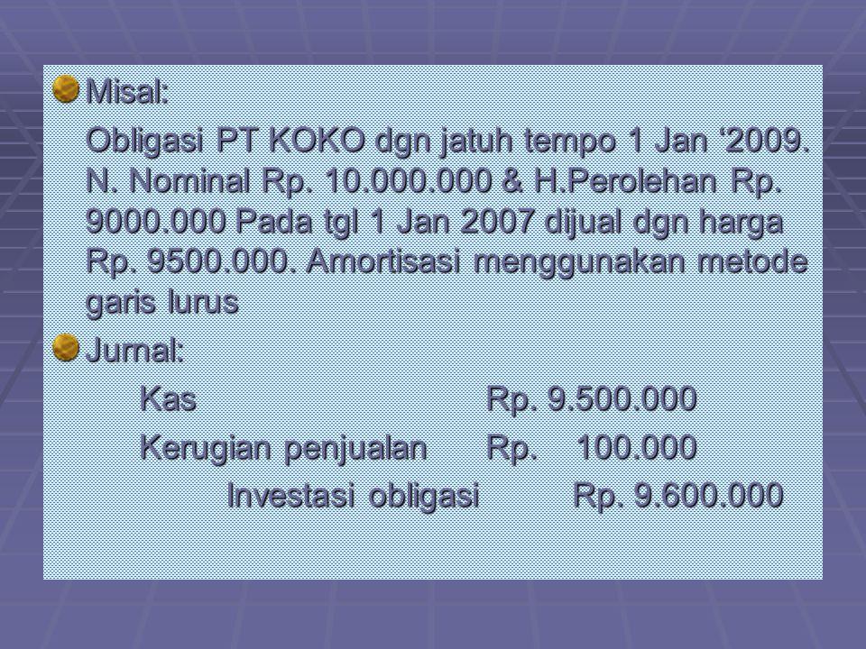 Misal: Obligasi PT KOKO dgn jatuh tempo 1 Jan '2009. N. Nominal Rp. 10.000.000 & H.Perolehan Rp. 9000.000 Pada tgl 1 Jan 2007 dijual dgn harga Rp. 950