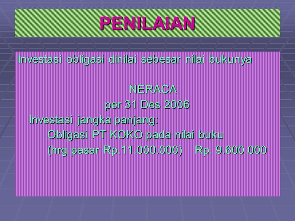 PENILAIAN Investasi obligasi dinilai sebesar nilai bukunya NERACA per 31 Des 2006 Investasi jangka panjang: Obligasi PT KOKO pada nilai buku (hrg pasar Rp.11.000.000)Rp.
