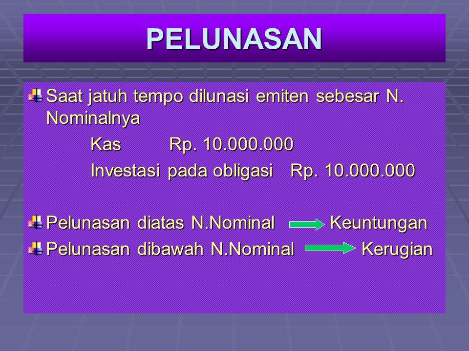 PELUNASAN Saat jatuh tempo dilunasi emiten sebesar N. Nominalnya KasRp. 10.000.000 KasRp. 10.000.000 Investasi pada obligasi Rp. 10.000.000 Investasi
