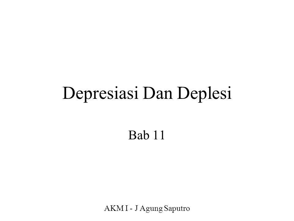 AKM I - J Agung Saputro Depresiasi : Alokasi cost Depresiasi -> Proses pengalokasian harga perolehan aktiva tetap menjadi biaya selama manfaatnya dengan cara yang rasional dan sistematis Deplesi -> sumber alam Amortisasi -> aktiva tidak berujud
