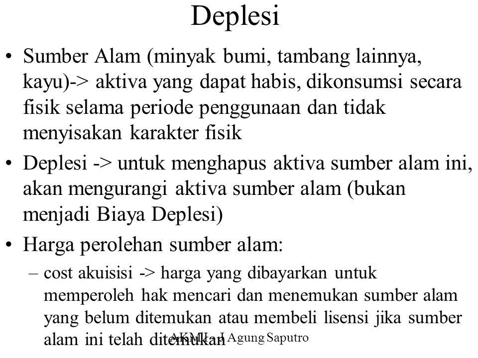 AKM I - J Agung Saputro Deplesi Sumber Alam (minyak bumi, tambang lainnya, kayu)-> aktiva yang dapat habis, dikonsumsi secara fisik selama periode pen