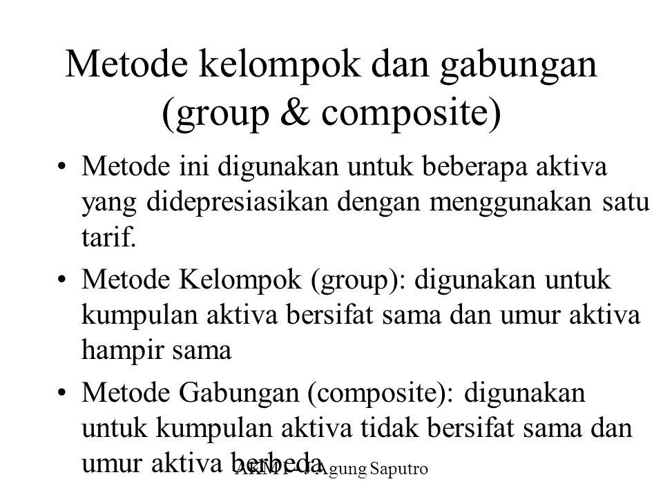 AKM I - J Agung Saputro Metode kelompok dan gabungan (group & composite) Metode ini digunakan untuk beberapa aktiva yang didepresiasikan dengan menggu