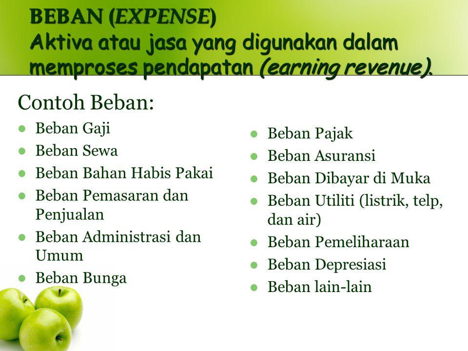 BEBAN ( EXPENSE ) Aktiva atau jasa yang digunakan dalam memproses pendapatan (earning revenue). Contoh Beban: Beban Gaji Beban Sewa Beban Bahan Habis