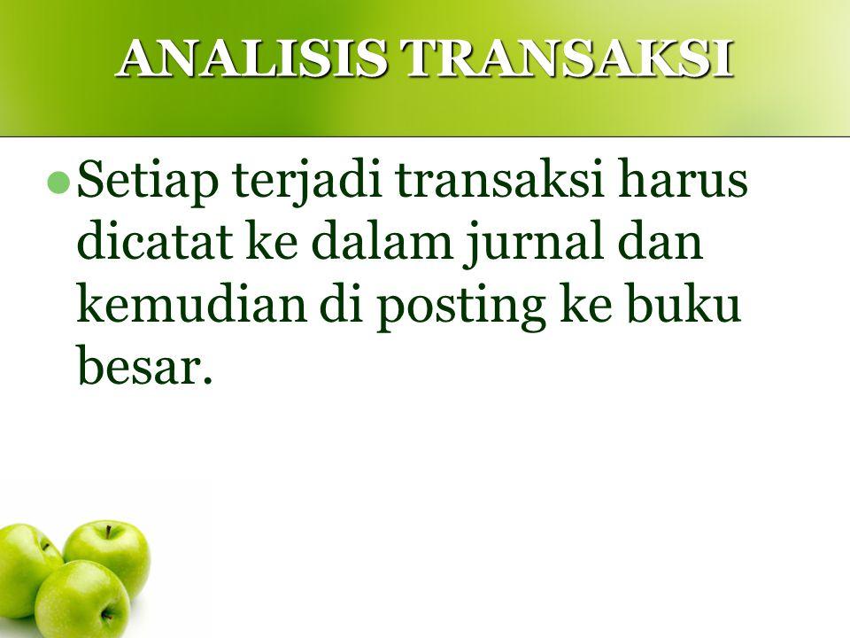 ANALISIS TRANSAKSI Setiap terjadi transaksi harus dicatat ke dalam jurnal dan kemudian di posting ke buku besar.