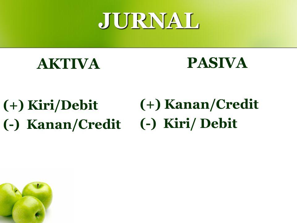 JURNAL AKTIVA (+) Kiri/Debit (-) Kanan/Credit PASIVA (+) Kanan/Credit (-) Kiri/ Debit