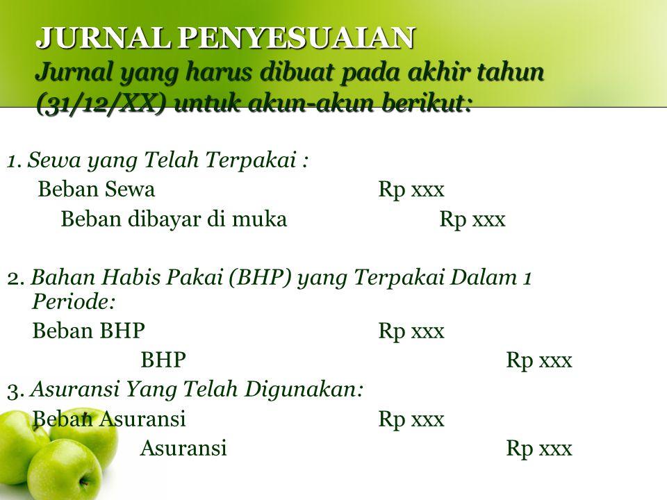 JURNAL PENYESUAIAN Jurnal yang harus dibuat pada akhir tahun (31/12/XX) untuk akun-akun berikut: 1. Sewa yang Telah Terpakai : Beban Sewa Rp xxx Beban