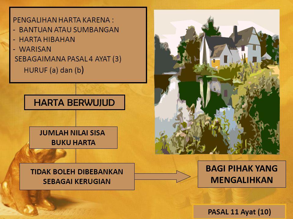 PENGALIHAN HARTA KARENA : - BANTUAN ATAU SUMBANGAN - HARTA HIBAHAN - WARISAN SEBAGAIMANA PASAL 4 AYAT (3) HURUF (a) dan (b ) HARTA BERWUJUD JUMLAH NIL