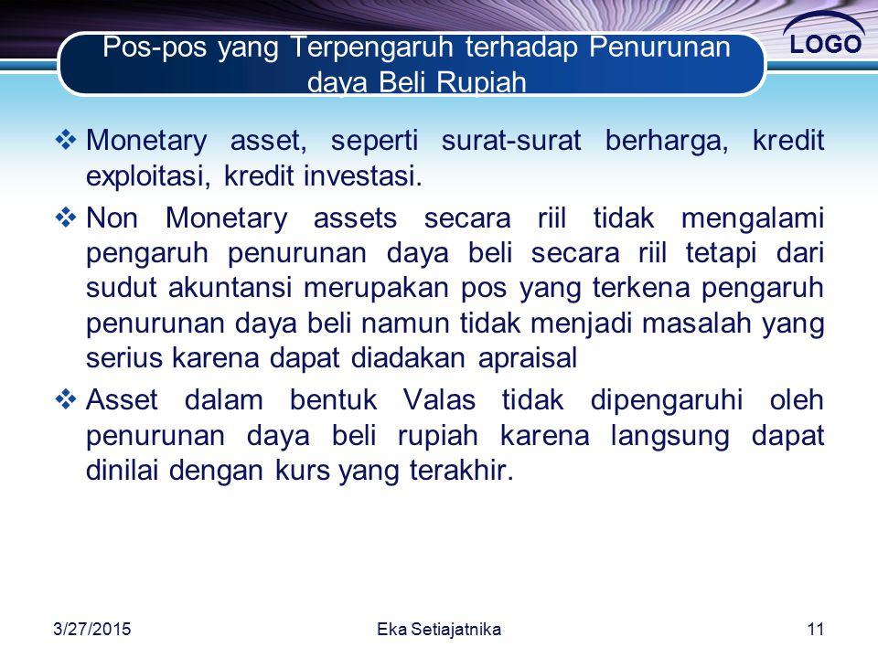 LOGO Pos-pos yang Terpengaruh terhadap Penurunan daya Beli Rupiah  Monetary asset, seperti surat-surat berharga, kredit exploitasi, kredit investasi.