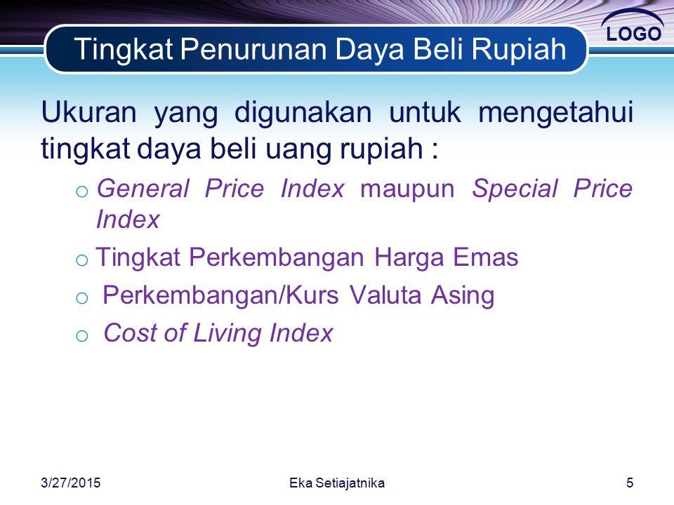 LOGO Tingkat Penurunan Daya Beli Rupiah Ukuran yang digunakan untuk mengetahui tingkat daya beli uang rupiah : o General Price Index maupun Special Price Index o Tingkat Perkembangan Harga Emas o Perkembangan/Kurs Valuta Asing o Cost of Living Index 3/27/20155Eka Setiajatnika