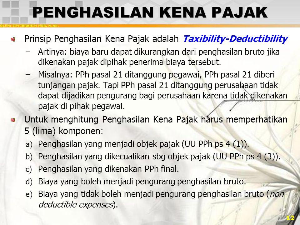 12 PENGHASILAN KENA PAJAK Prinsip Penghasilan Kena Pajak adalah Taxibility-Deductibility –Artinya: biaya baru dapat dikurangkan dari penghasilan bruto