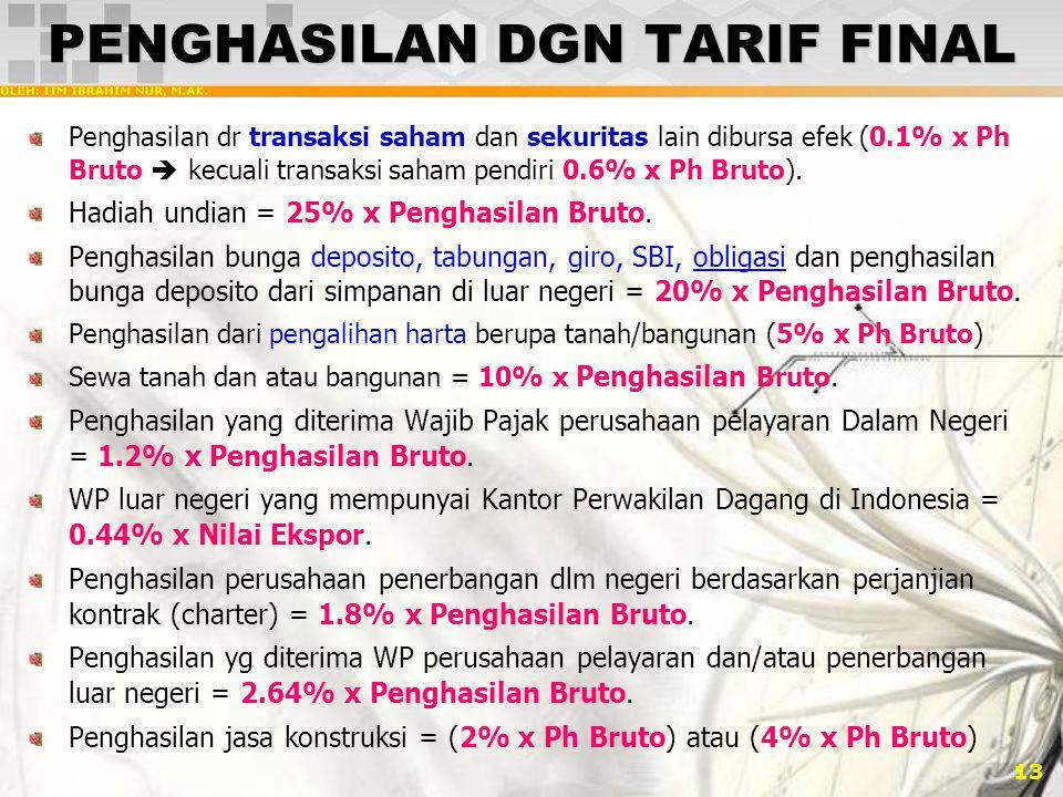 13 PENGHASILAN DGN TARIF FINAL Penghasilan dr transaksi saham dan sekuritas lain dibursa efek (0.1% x Ph Bruto  kecuali transaksi saham pendiri 0.6% x Ph Bruto).
