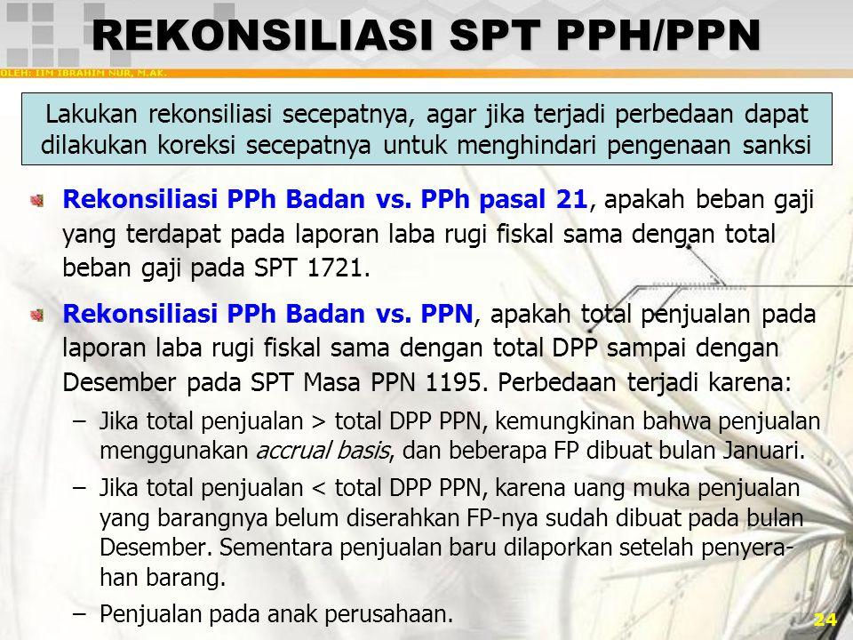 24 REKONSILIASI SPT PPH/PPN Rekonsiliasi PPh Badan vs. PPh pasal 21, apakah beban gaji yang terdapat pada laporan laba rugi fiskal sama dengan total b