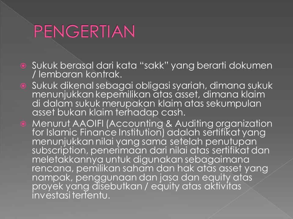 """ Sukuk berasal dari kata """"sakk"""" yang berarti dokumen / lembaran kontrak.  Sukuk dikenal sebagai obligasi syariah, dimana sukuk menunjukkan kepemilik"""