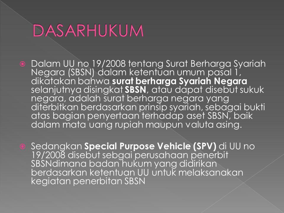  Dalam UU no 19/2008 tentang Surat Berharga Syariah Negara (SBSN) dalam ketentuan umum pasal 1, dikatakan bahwa surat berharga Syariah Negara selanju