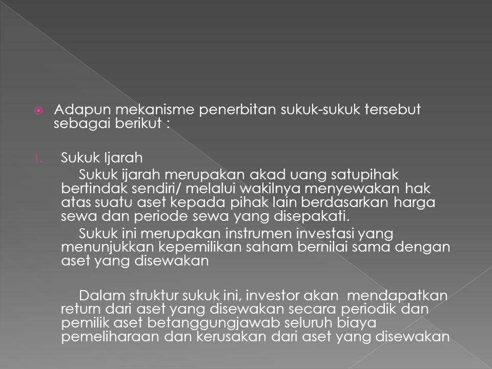  Adapun mekanisme penerbitan sukuk-sukuk tersebut sebagai berikut : 1. Sukuk Ijarah Sukuk ijarah merupakan akad uang satupihak bertindak sendiri/ mel