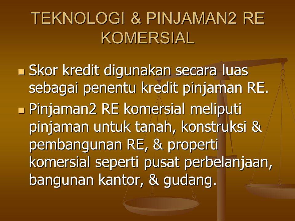 TEKNOLOGI & PINJAMAN2 RE KOMERSIAL Skor kredit digunakan secara luas sebagai penentu kredit pinjaman RE. Skor kredit digunakan secara luas sebagai pen