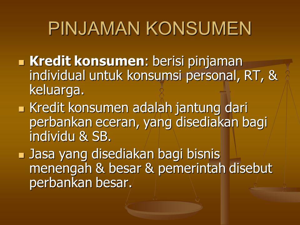 PINJAMAN KONSUMEN Kredit konsumen: berisi pinjaman individual untuk konsumsi personal, RT, & keluarga. Kredit konsumen: berisi pinjaman individual unt