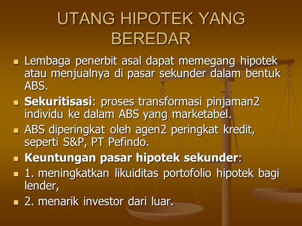 UTANG HIPOTEK YANG BEREDAR Lembaga penerbit asal dapat memegang hipotek atau menjualnya di pasar sekunder dalam bentuk ABS. Lembaga penerbit asal dapa