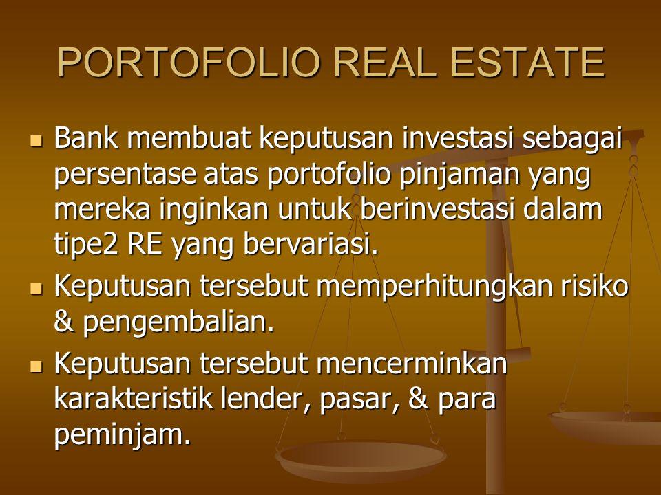 PORTOFOLIO REAL ESTATE Bank membuat keputusan investasi sebagai persentase atas portofolio pinjaman yang mereka inginkan untuk berinvestasi dalam tipe