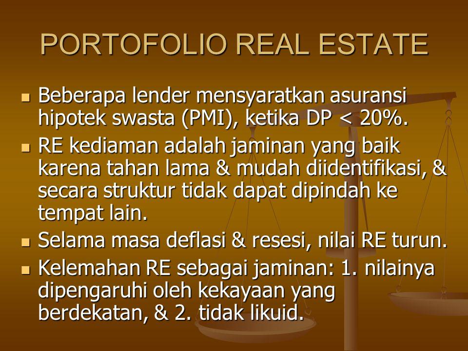 PORTOFOLIO REAL ESTATE Beberapa lender mensyaratkan asuransi hipotek swasta (PMI), ketika DP < 20%. Beberapa lender mensyaratkan asuransi hipotek swas