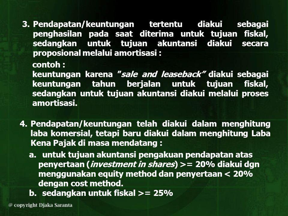 3.Pendapatan/keuntungan tertentu diakui sebagai penghasilan pada saat diterima untuk tujuan fiskal, sedangkan untuk tujuan akuntansi diakui secara pro