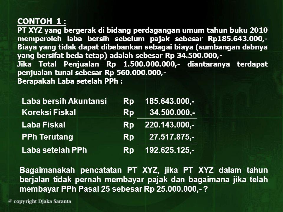 CONTOH 1 : PT XYZ yang bergerak di bidang perdagangan umum tahun buku 2010 memperoleh laba bersih sebelum pajak sebesar Rp185.643.000,- Biaya yang tid