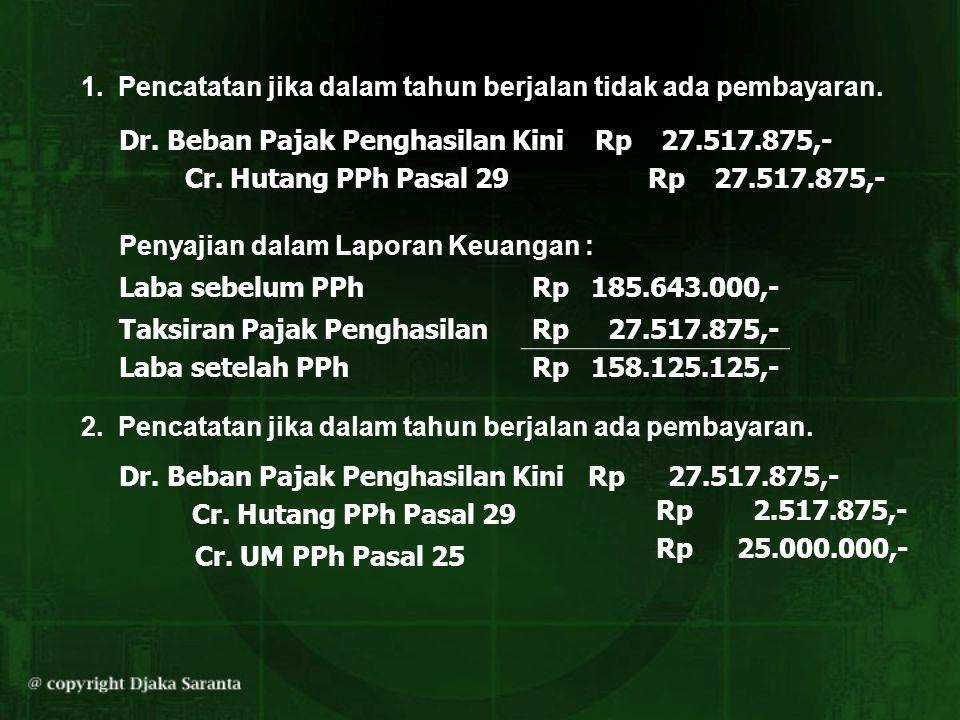 1. Pencatatan jika dalam tahun berjalan tidak ada pembayaran. Dr. Beban Pajak Penghasilan Kini Rp27.517.875,- Cr. Hutang PPh Pasal 29 Penyajian dalam