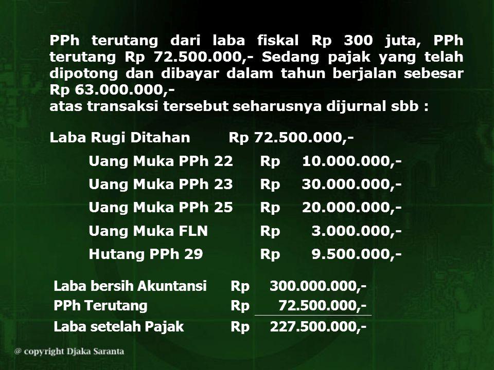 PPh terutang dari laba fiskal Rp 300 juta, PPh terutang Rp 72.500.000,- Sedang pajak yang telah dipotong dan dibayar dalam tahun berjalan sebesar Rp 6