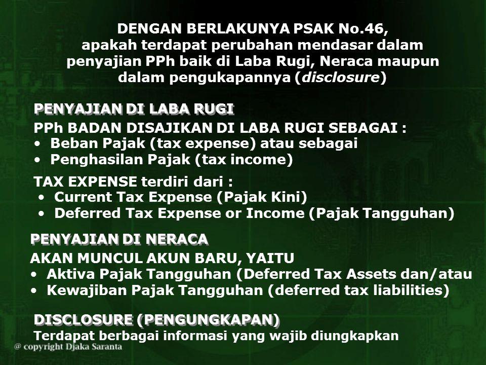 DENGAN BERLAKUNYA PSAK No.46, apakah terdapat perubahan mendasar dalam penyajian PPh baik di Laba Rugi, Neraca maupun dalam pengukapannya (disclosure)