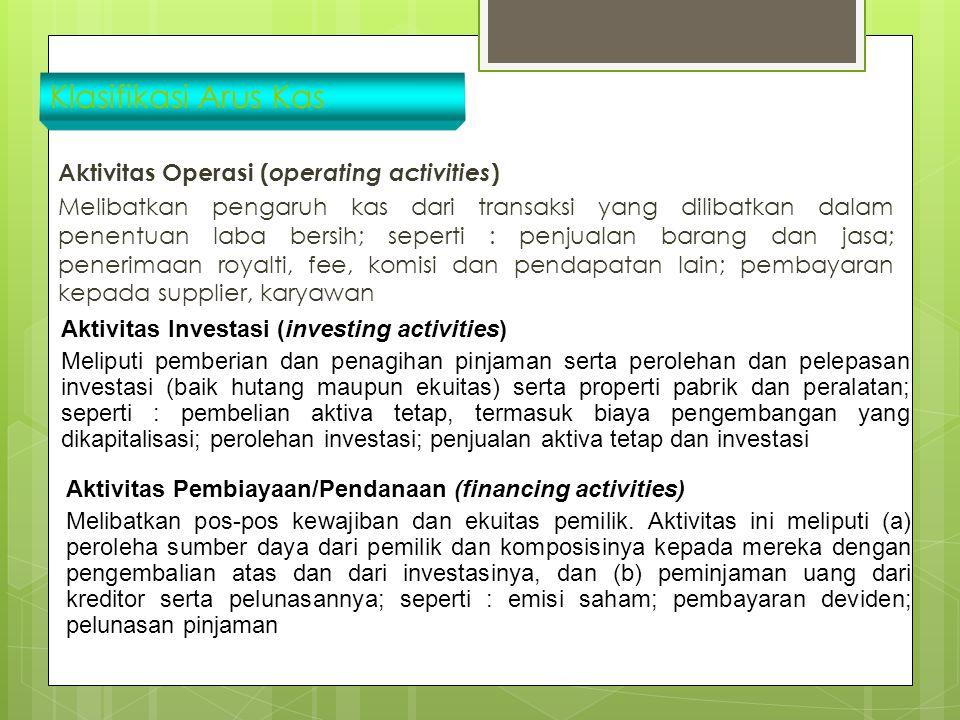 Klasifikasi Arus Kas Aktivitas Operasi ( operating activities ) Melibatkan pengaruh kas dari transaksi yang dilibatkan dalam penentuan laba bersih; se