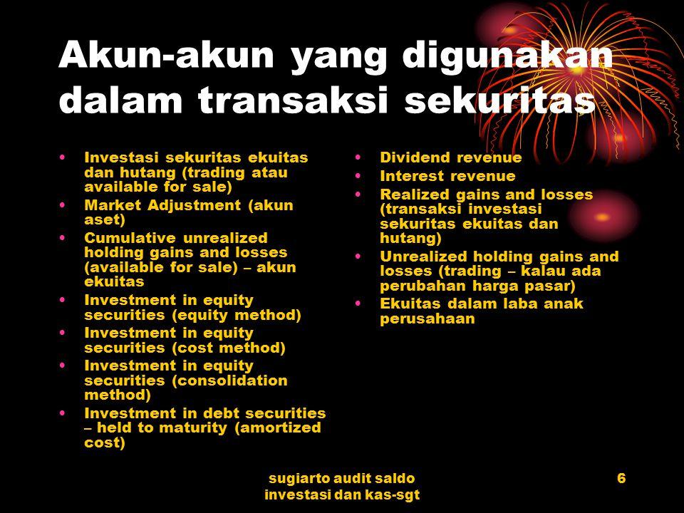sugiarto audit saldo investasi dan kas-sgt 5 INVESTASI Investasi dalam efek berhubungan dengan siklus penerimaan kas (penjualan efek, penerimaan bunga