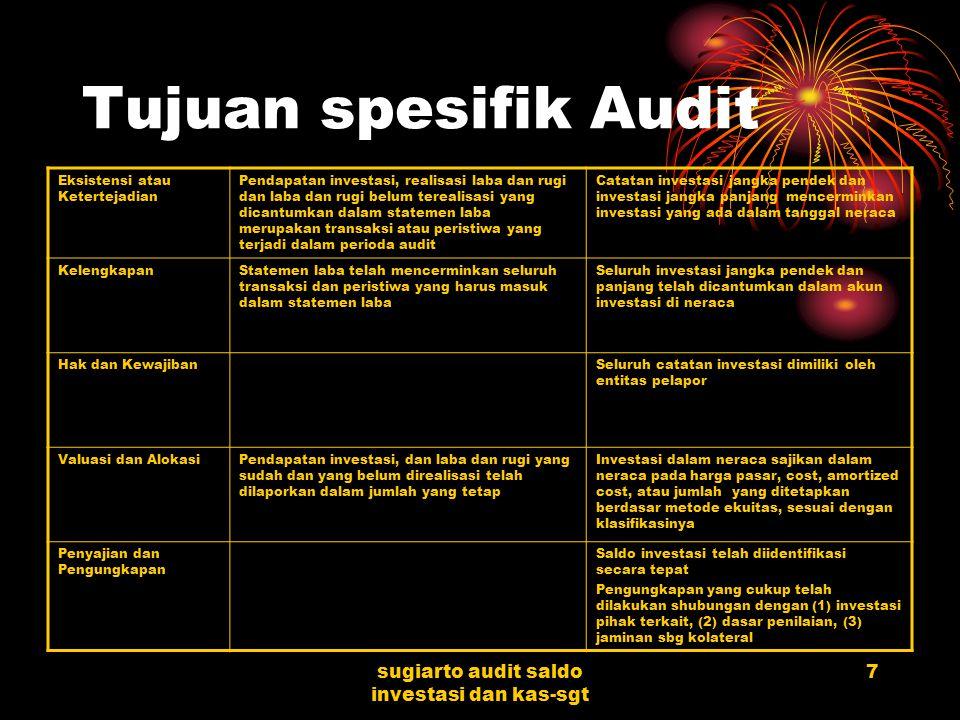 sugiarto audit saldo investasi dan kas-sgt 6 Akun-akun yang digunakan dalam transaksi sekuritas Investasi sekuritas ekuitas dan hutang (trading atau a
