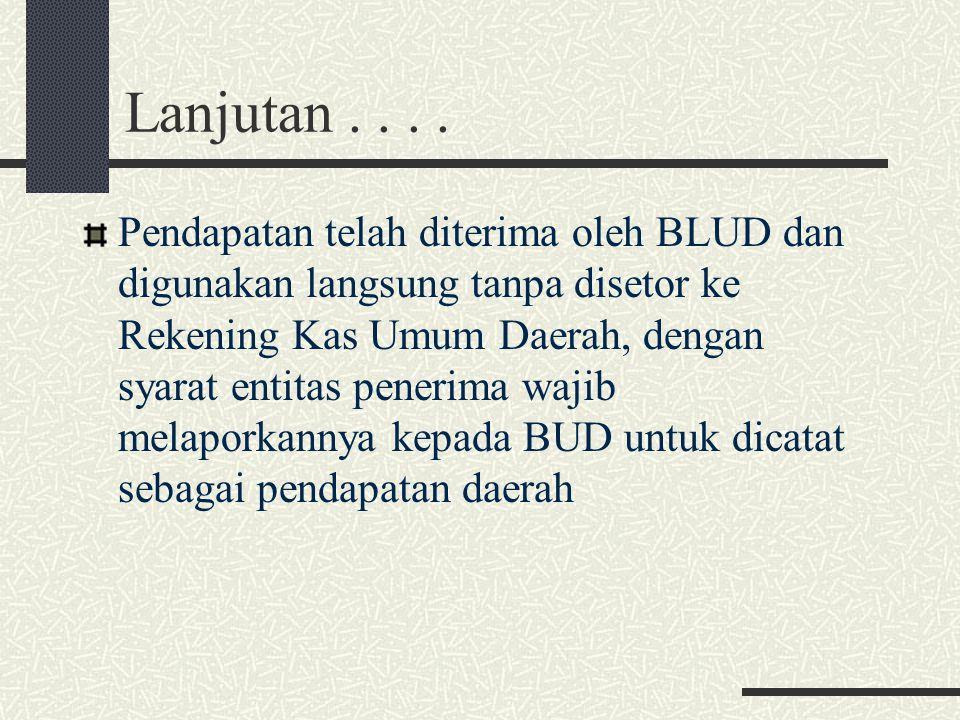 Lanjutan.... Pendapatan telah diterima oleh BLUD dan digunakan langsung tanpa disetor ke Rekening Kas Umum Daerah, dengan syarat entitas penerima waji