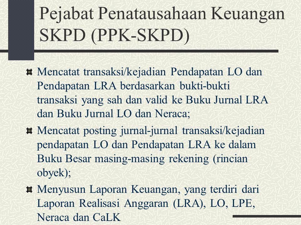 Pejabat Penatausahaan Keuangan SKPD (PPK-SKPD) Mencatat transaksi/kejadian Pendapatan LO dan Pendapatan LRA berdasarkan bukti-bukti transaksi yang sah